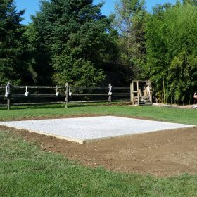 Stone foundation installation for a shed in Willow Street, PA