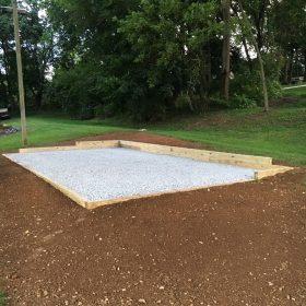 Stone shed foundation installed in Strasburg, PA