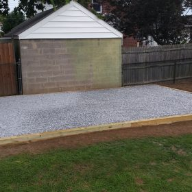 Large gravel shed base installed by Site Preparations, LLC