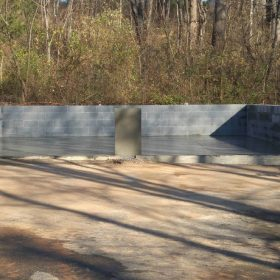 Concrete garage foundation with concrete block walls in Fawn Grove, PA