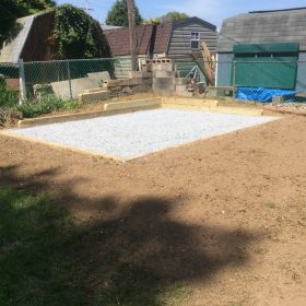 Small gravel shed foundation installed in Bel Air, MD