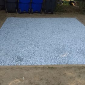 A gravel shed foundation installed by Site Preparations, LLC