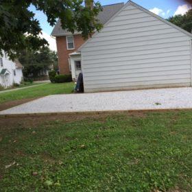 Gravel shed foundation installation for a prefab storage building