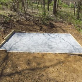 Aerial view of a gravel shed foundation