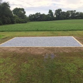 A gravel shed foundation installed in Centerville, Maryland