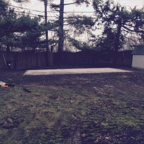 A completed gravel shed pad installation