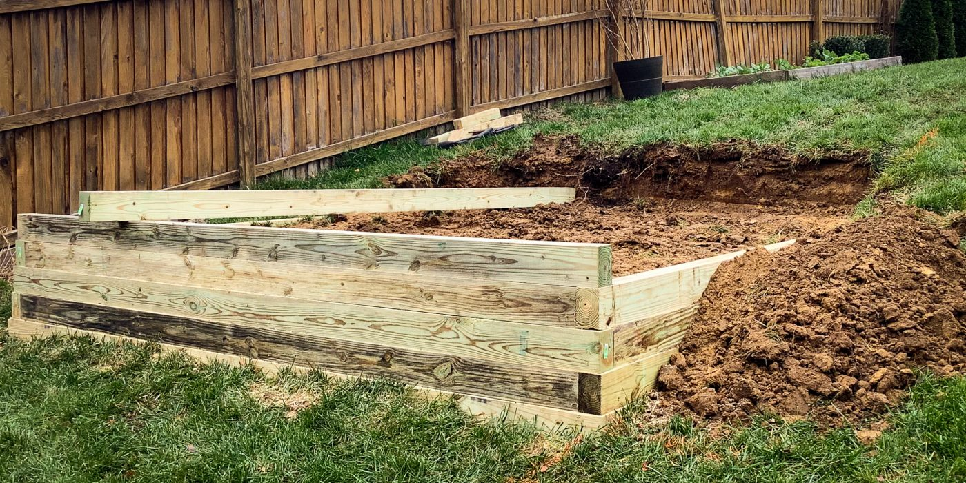 A shed foundation being built by Site Preparations LLC