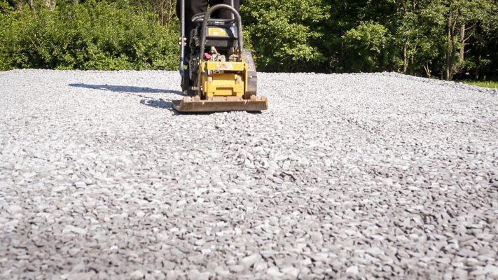 Compacting a gravel shed foundation in Connecticut