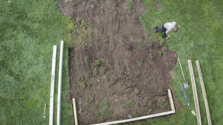 Example of excavating for a shed foundation in Maryland