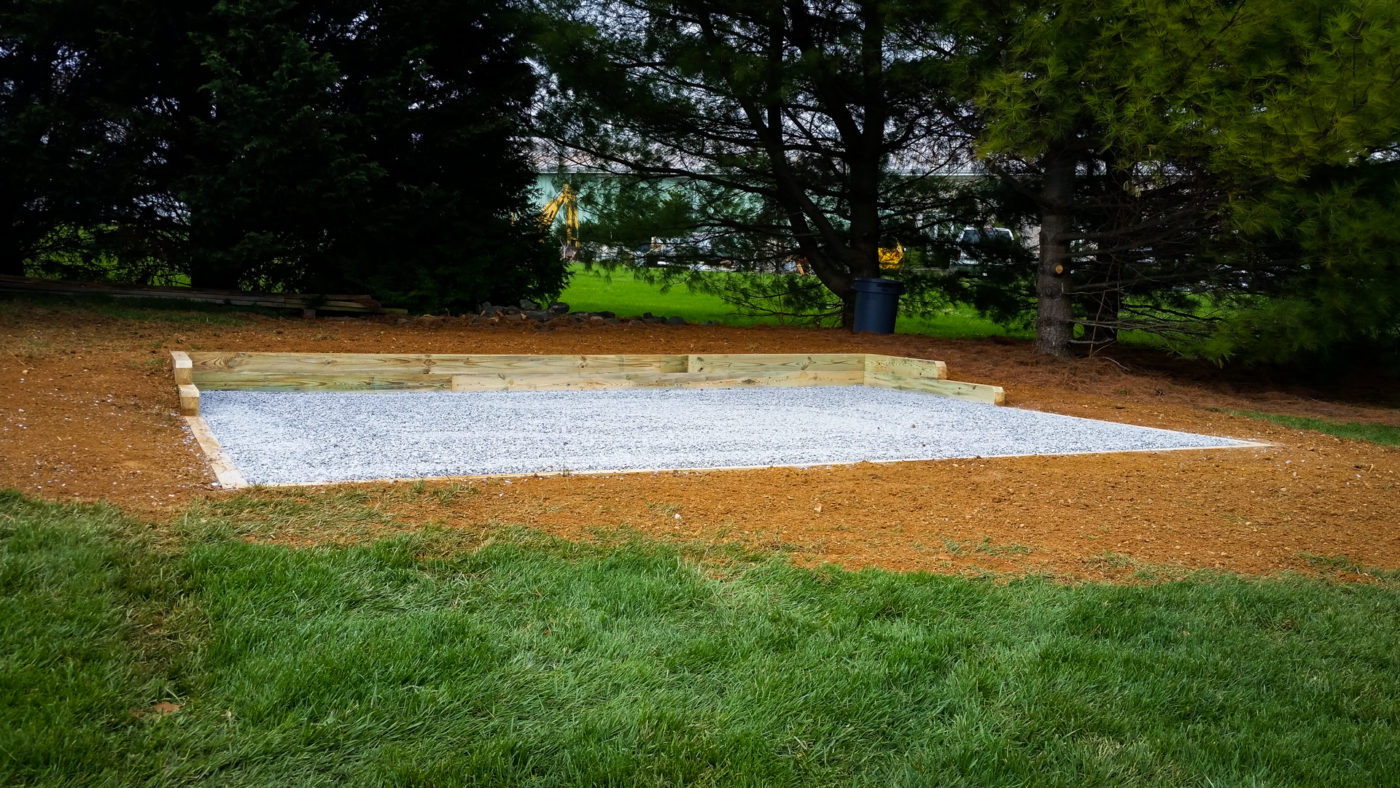 A gravel shed foundation in Maryland