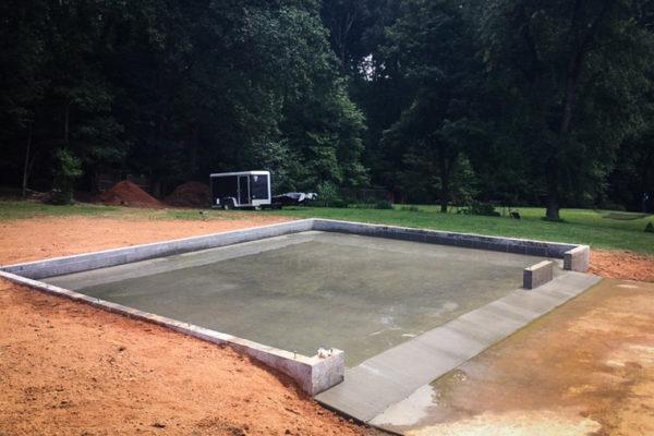 Example of concrete garage foundation installation in Virginia