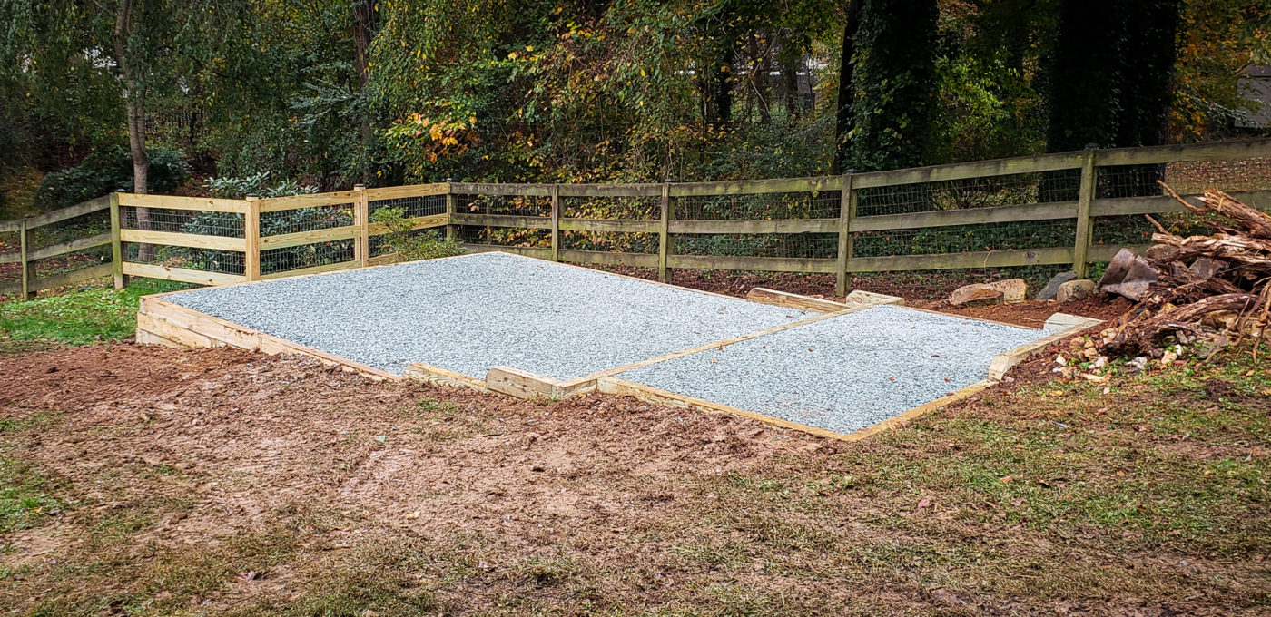 A shed foundation in Charlottesville, VA