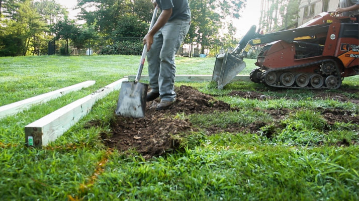 Removing soil to build a gravel shed foundation in Virginia