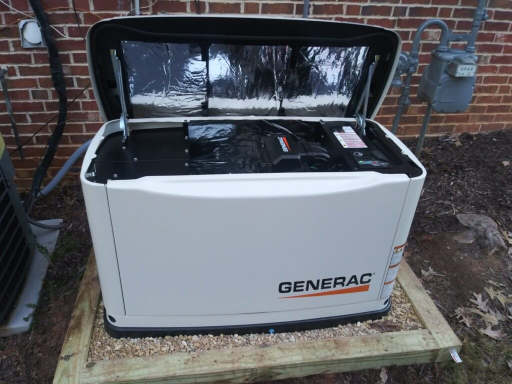 A gravel pad for a generator