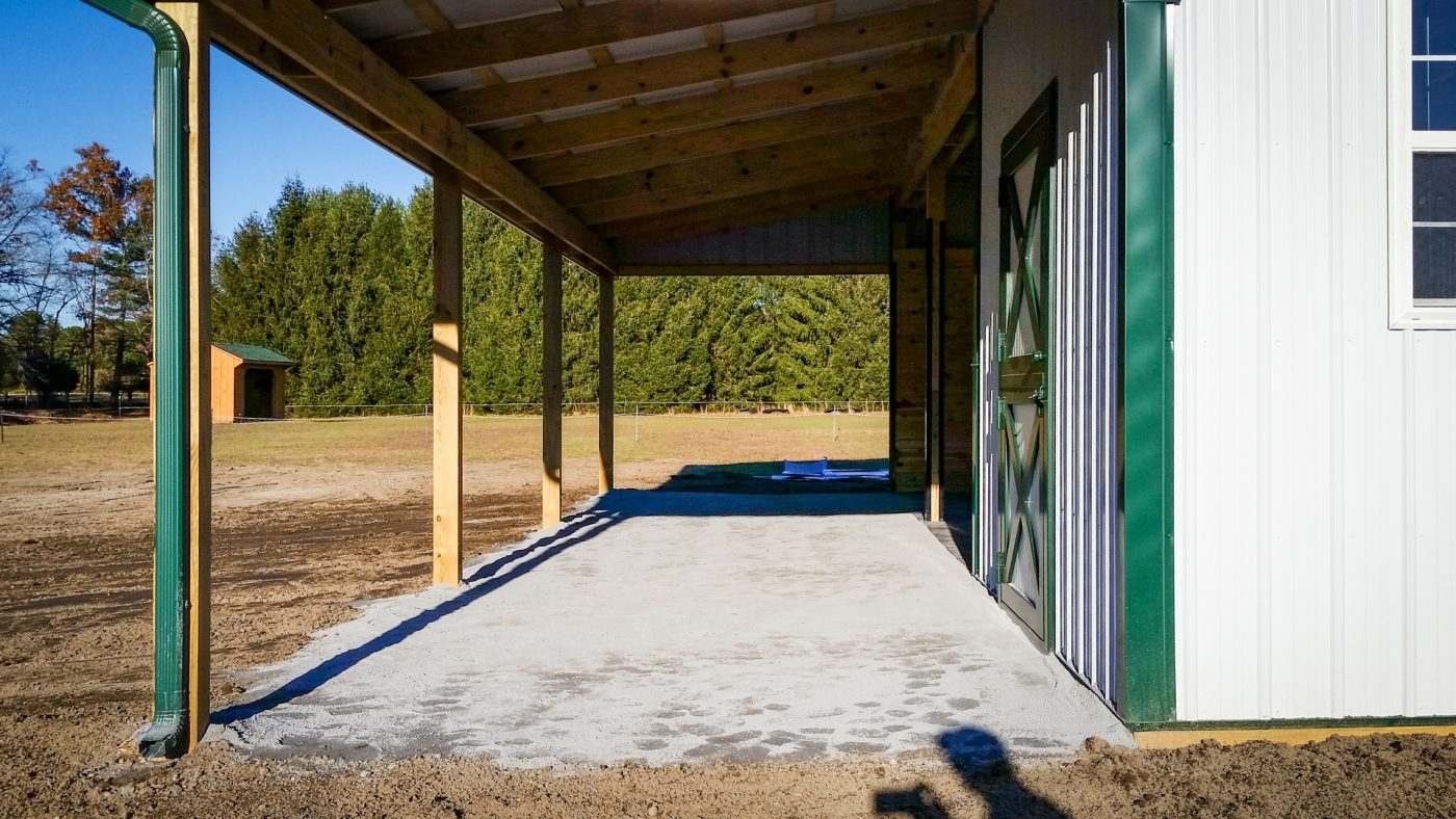 A gravel pad for a horse barn foundation