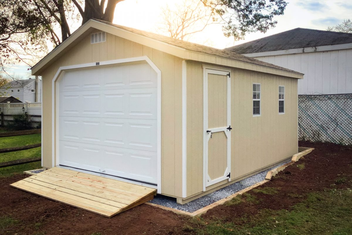 A large shed size on a foundation