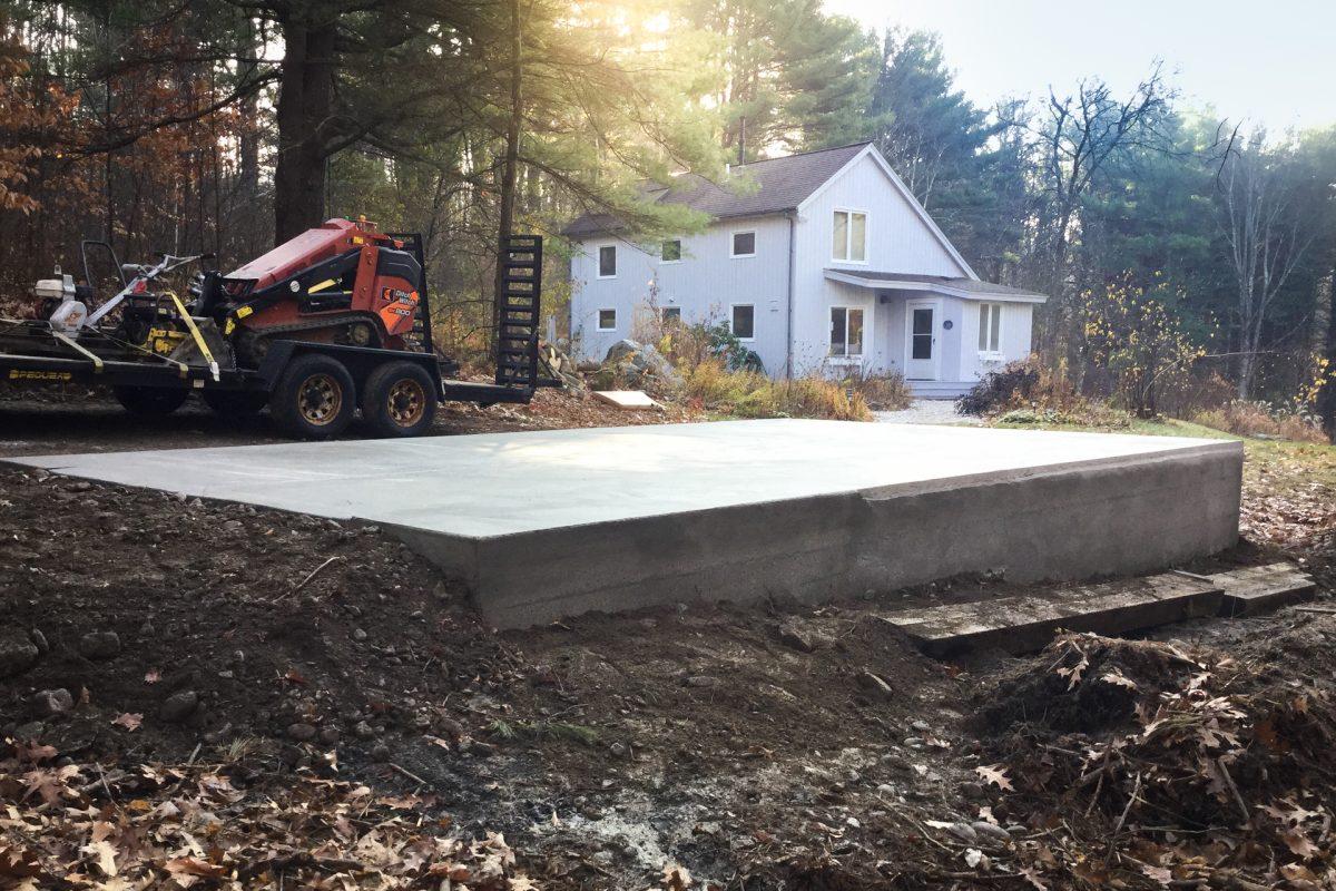A permanent concrete shed foundation