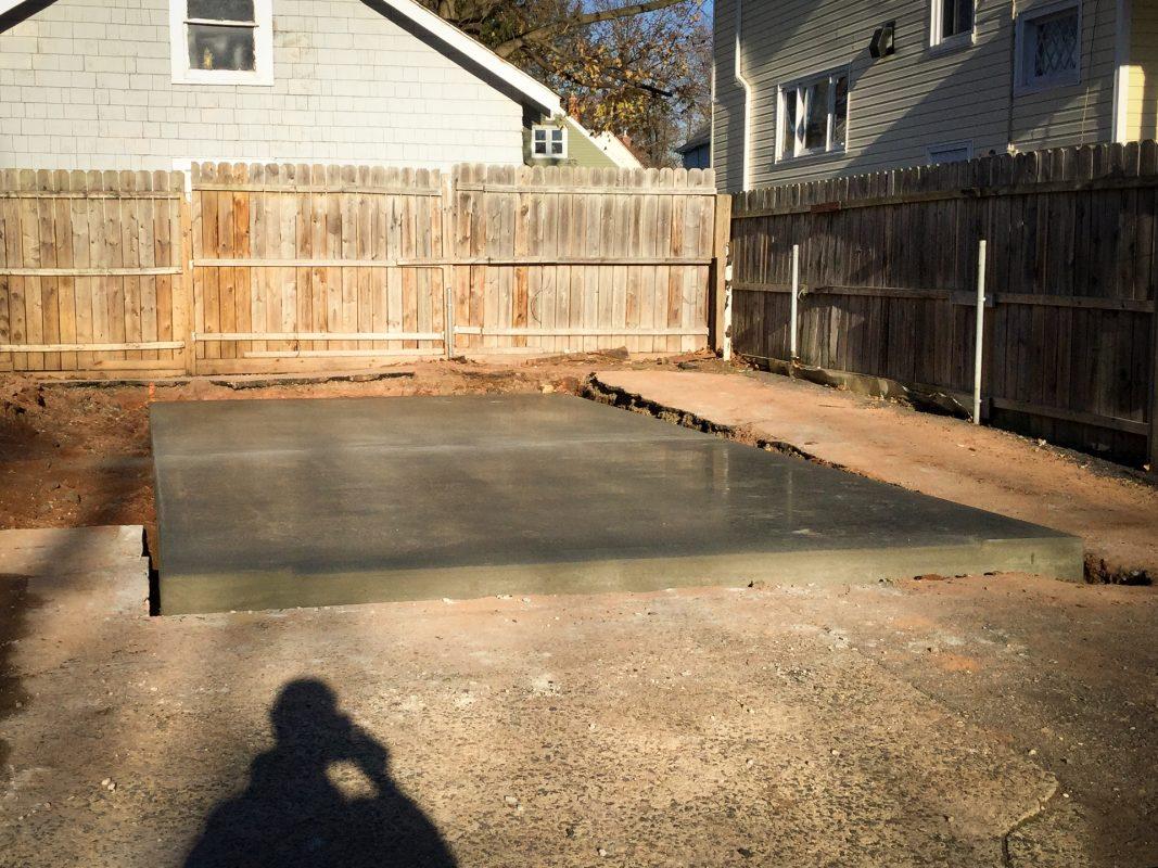 A concrete shed foundation