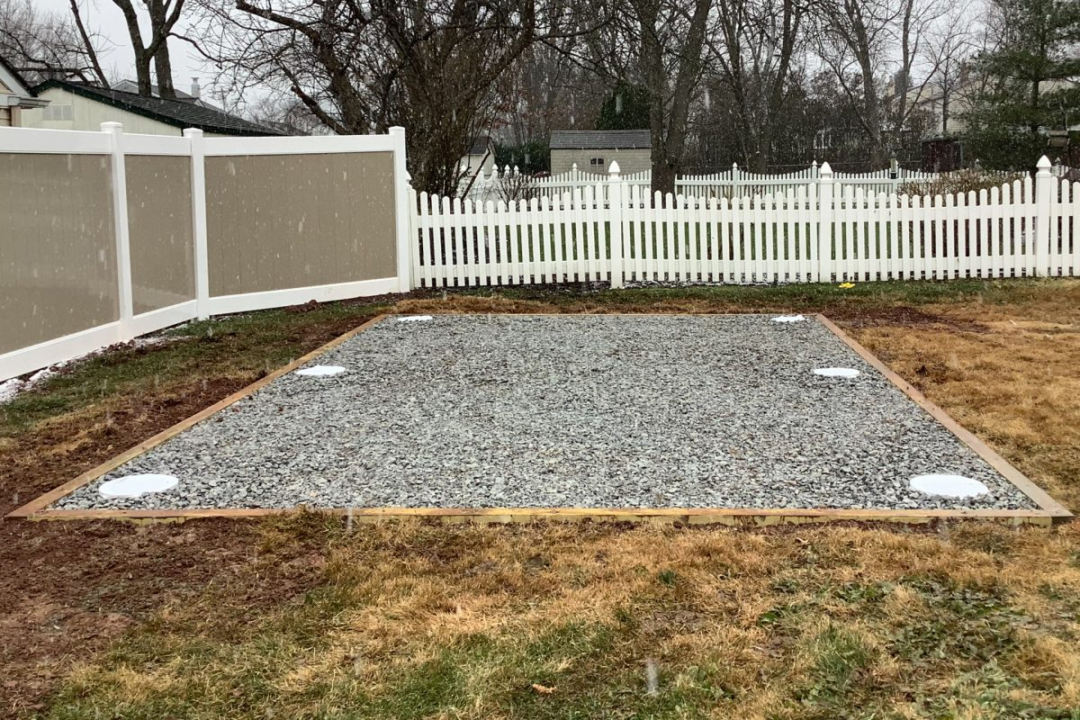 A permanent shed foundation with gravel and concrete piers
