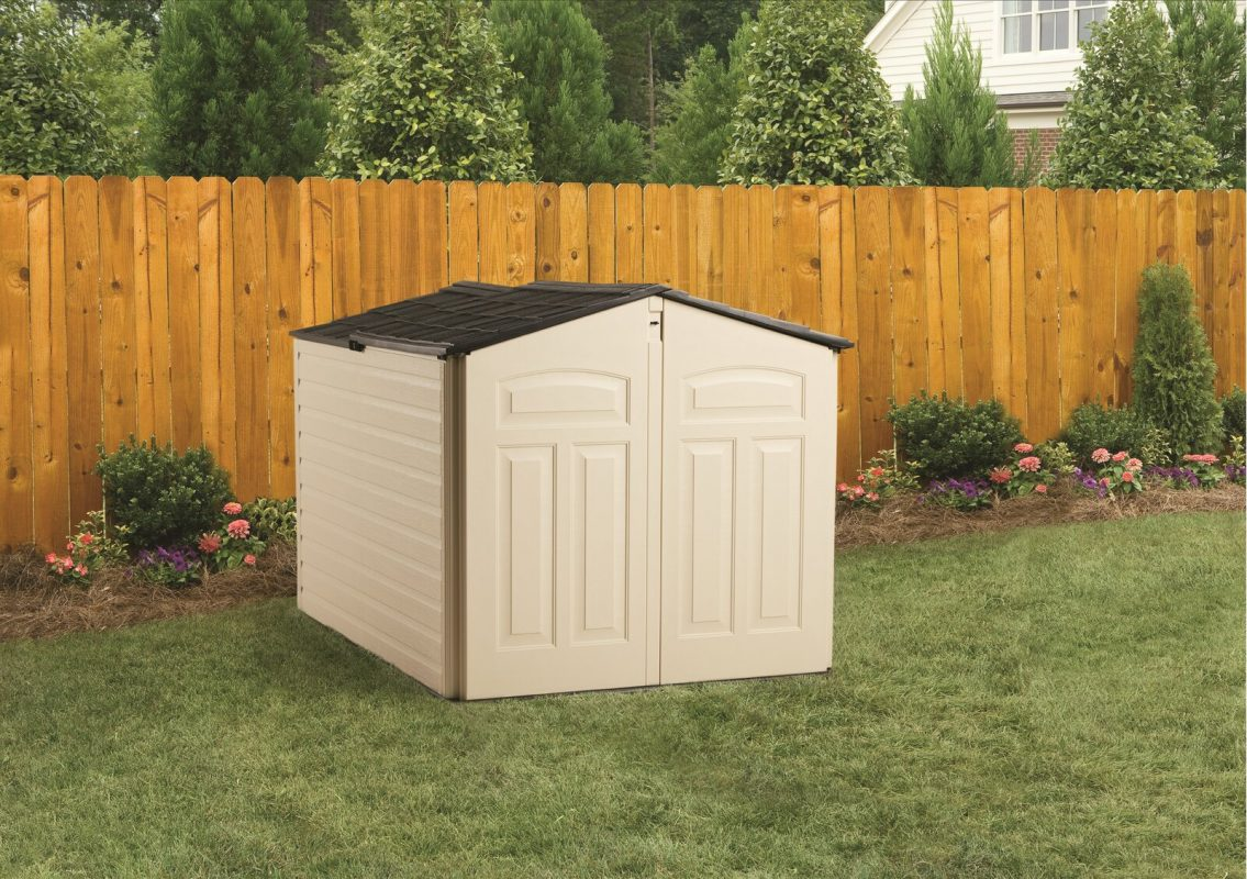 A small plastic shed with no foundation