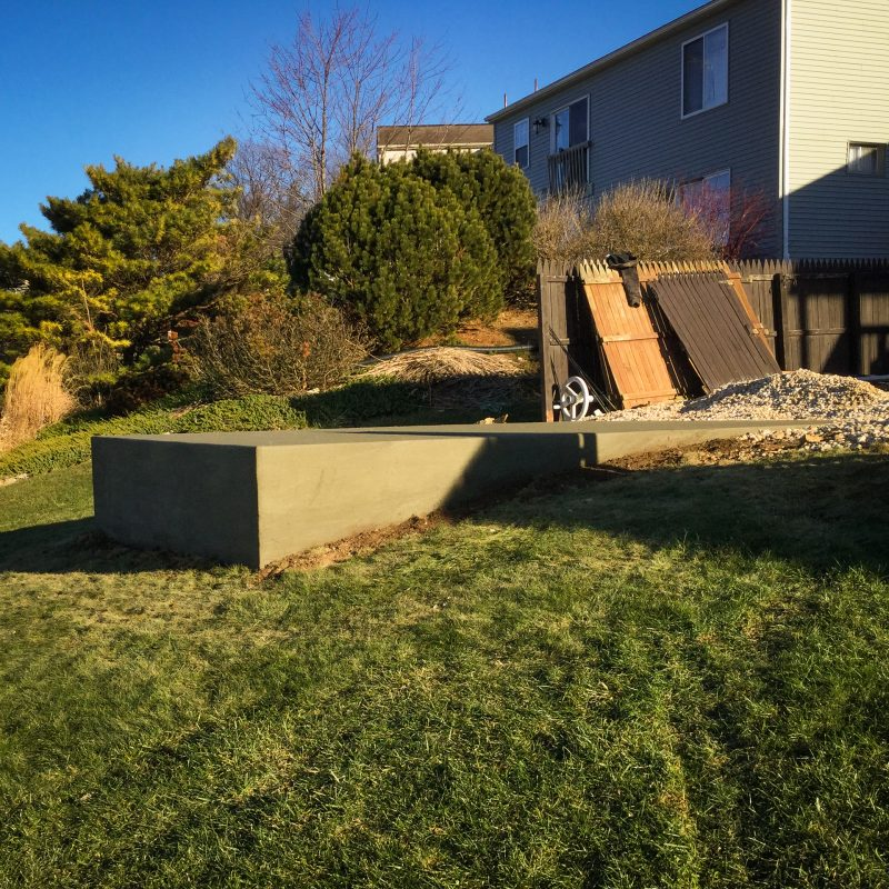 A concrete foundation needed for a shed on a slope