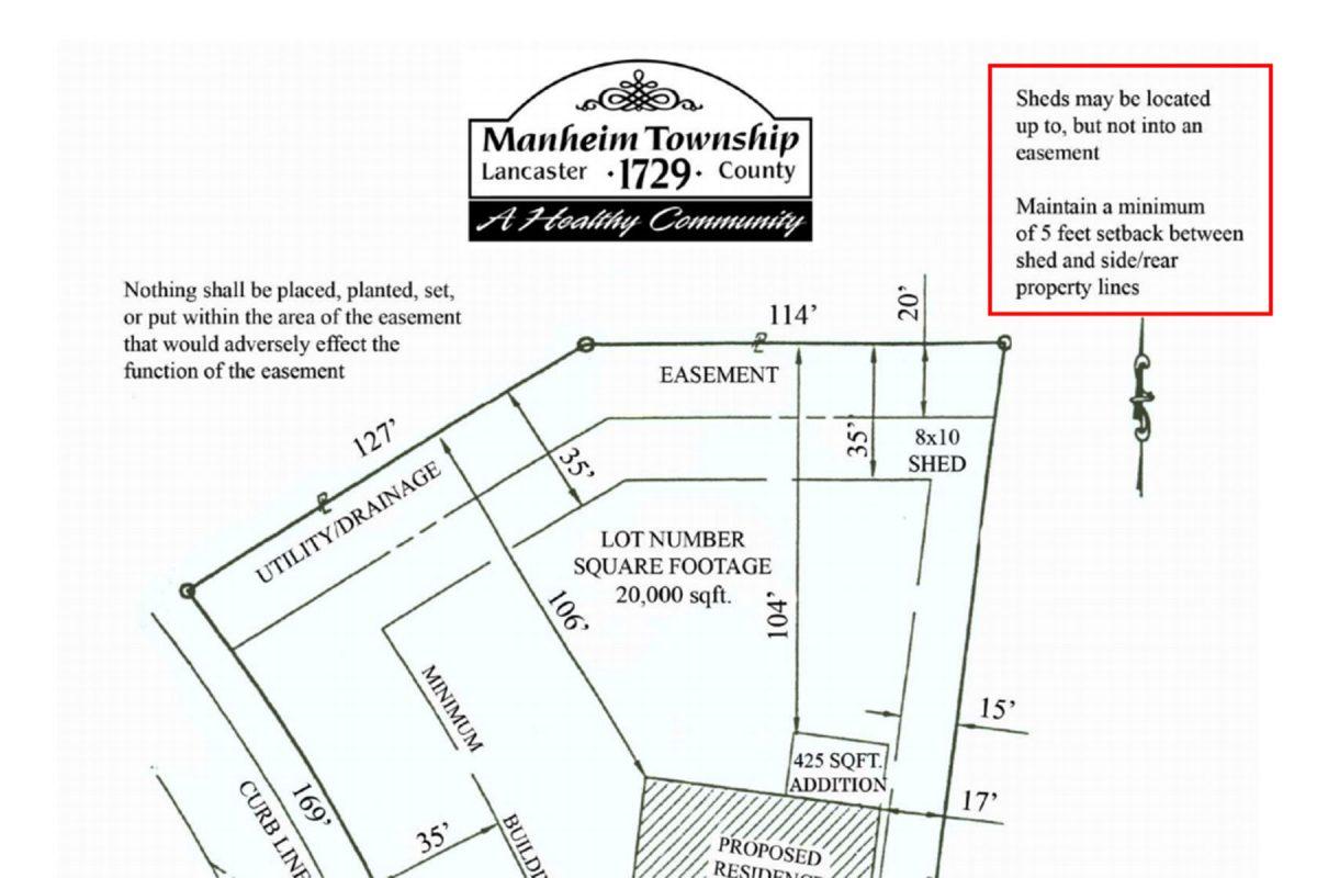 Manheim, PA regulations for ground preparation for a shed