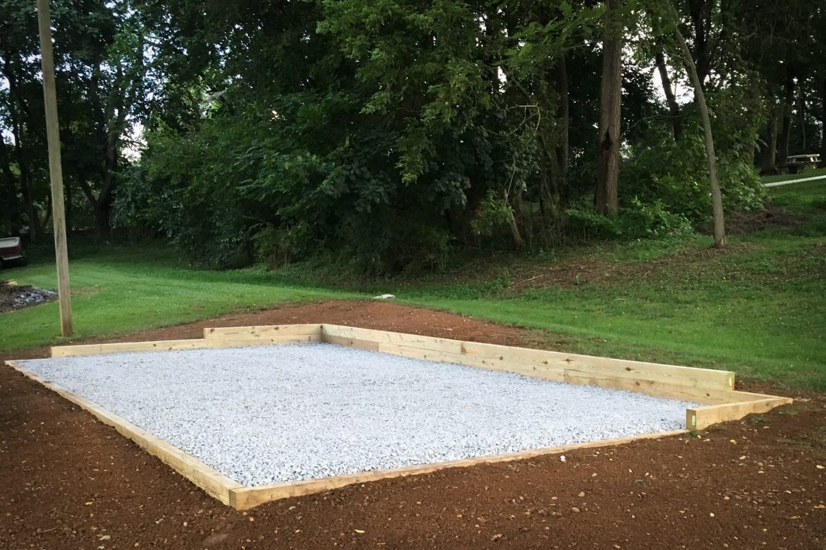 Gravel ground preparation for a shed on a slope
