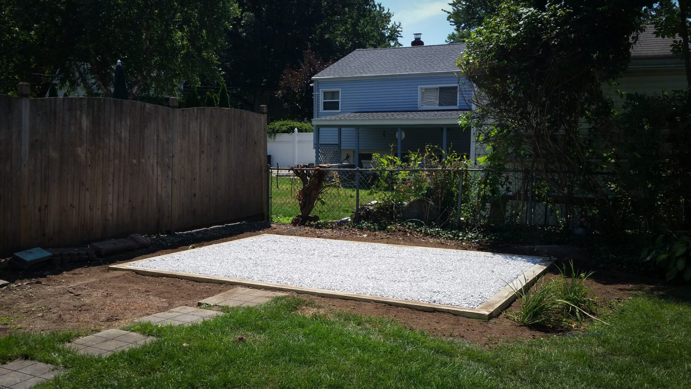 A 10x14 gravel shed pad