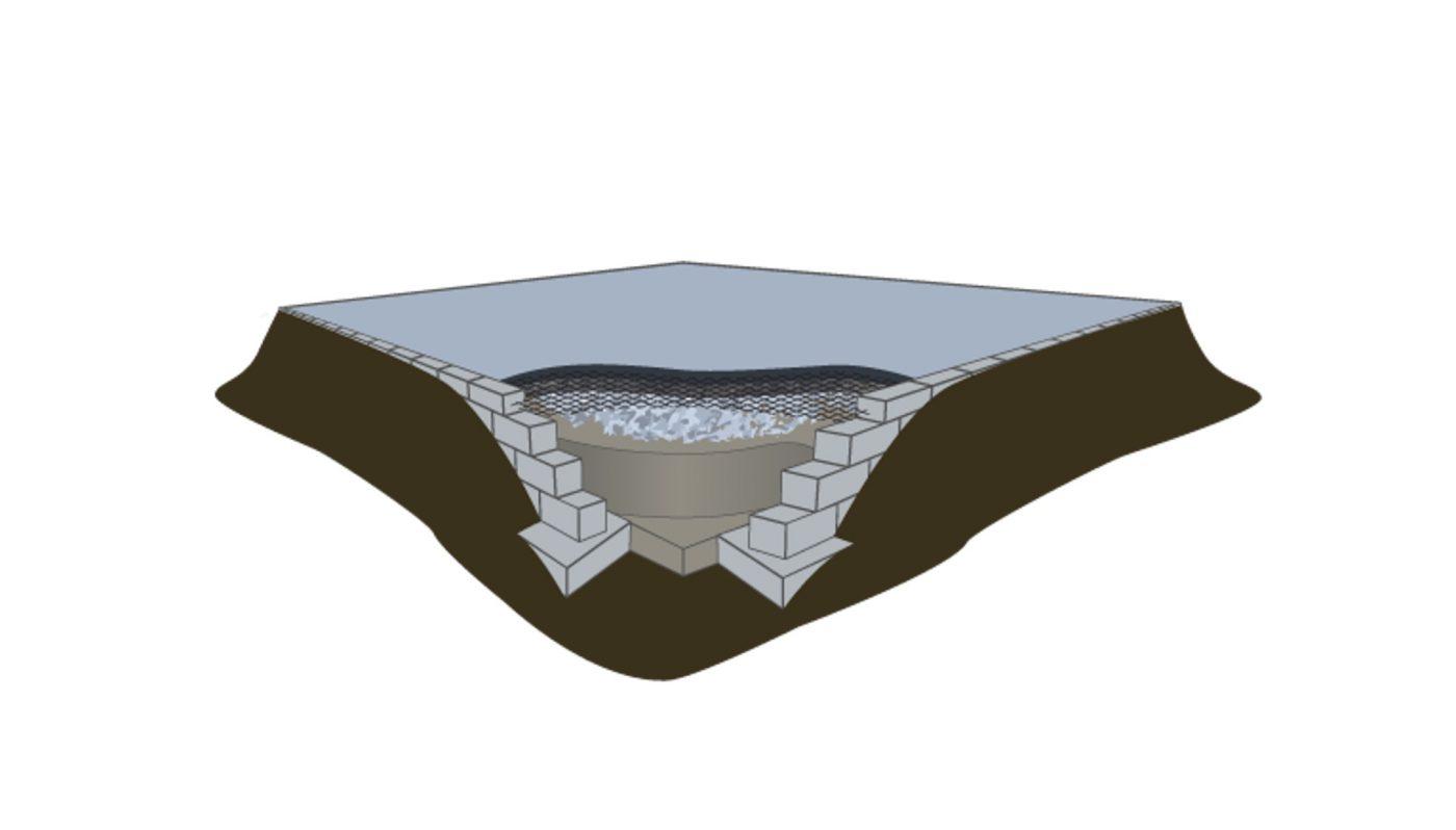 Diagram of a concrete shed foundation