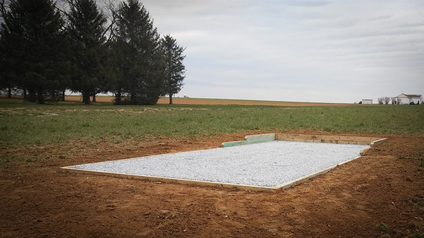 A finished gravel shed foundation