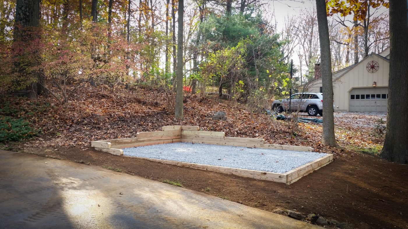 A gravel shed foundation