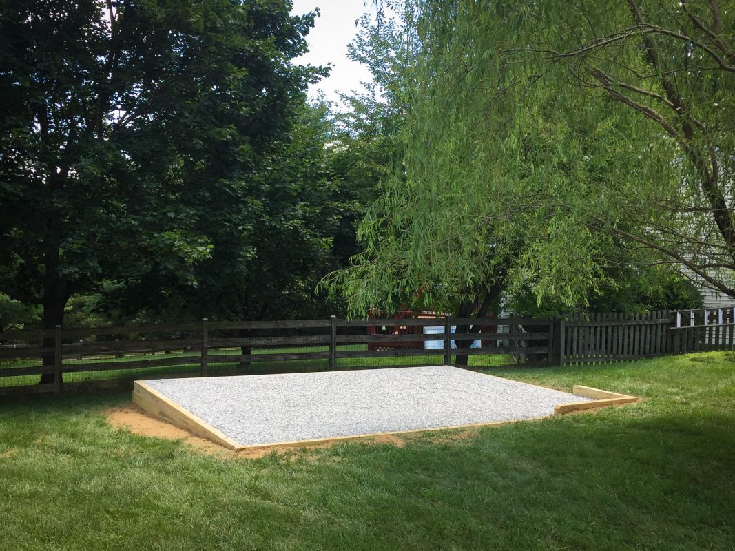 A completed gravel shed pad