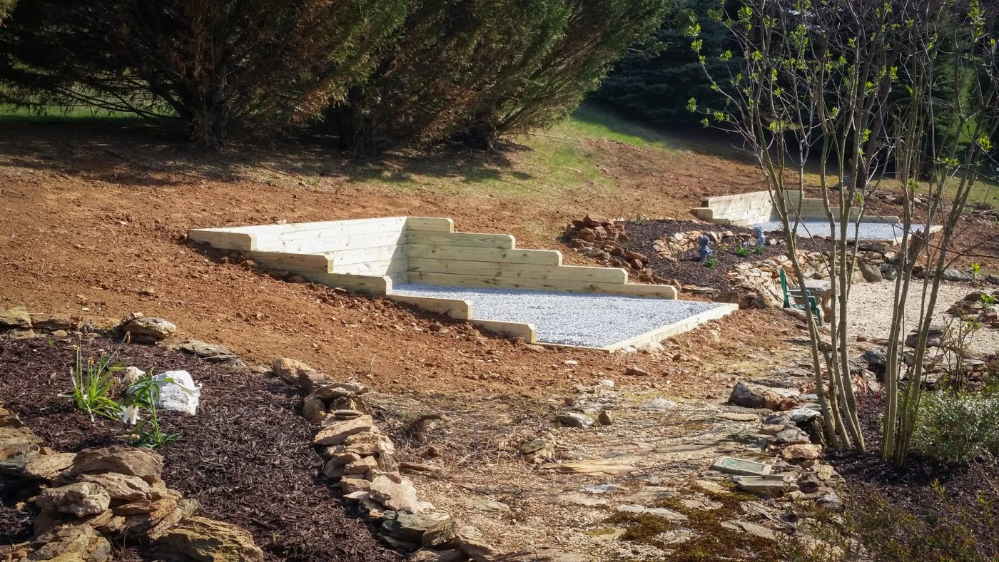 A gravel shed pad on a slope