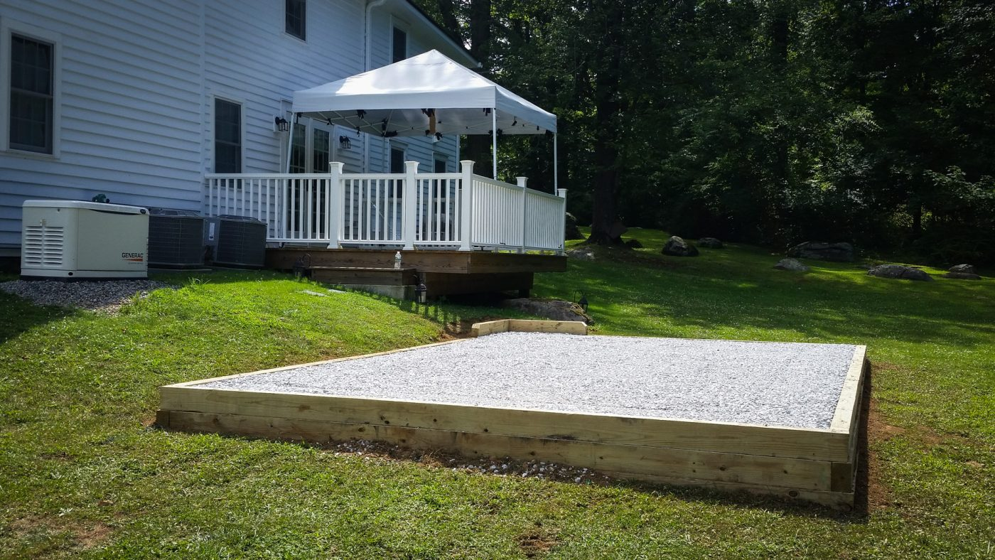 A gravel shed pad by a site prep company