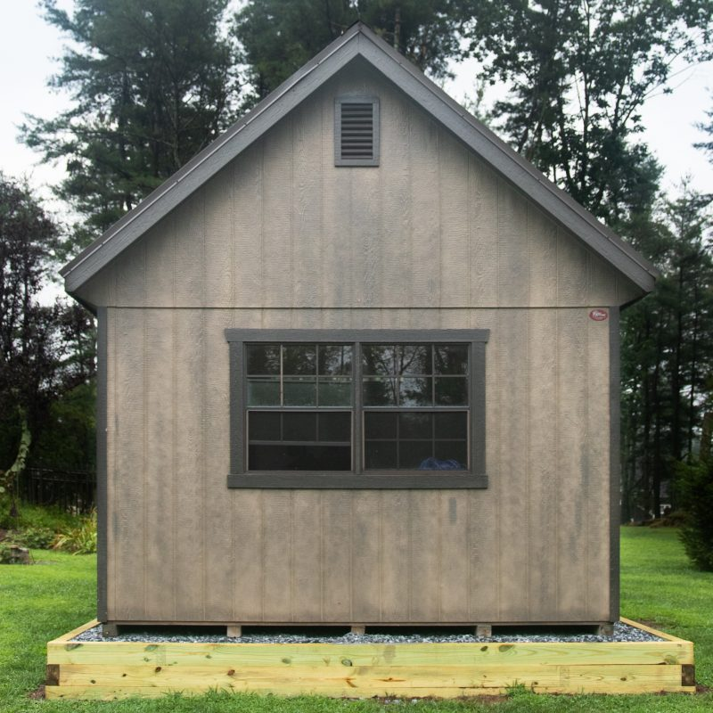 Gravel shed foundation with a shed