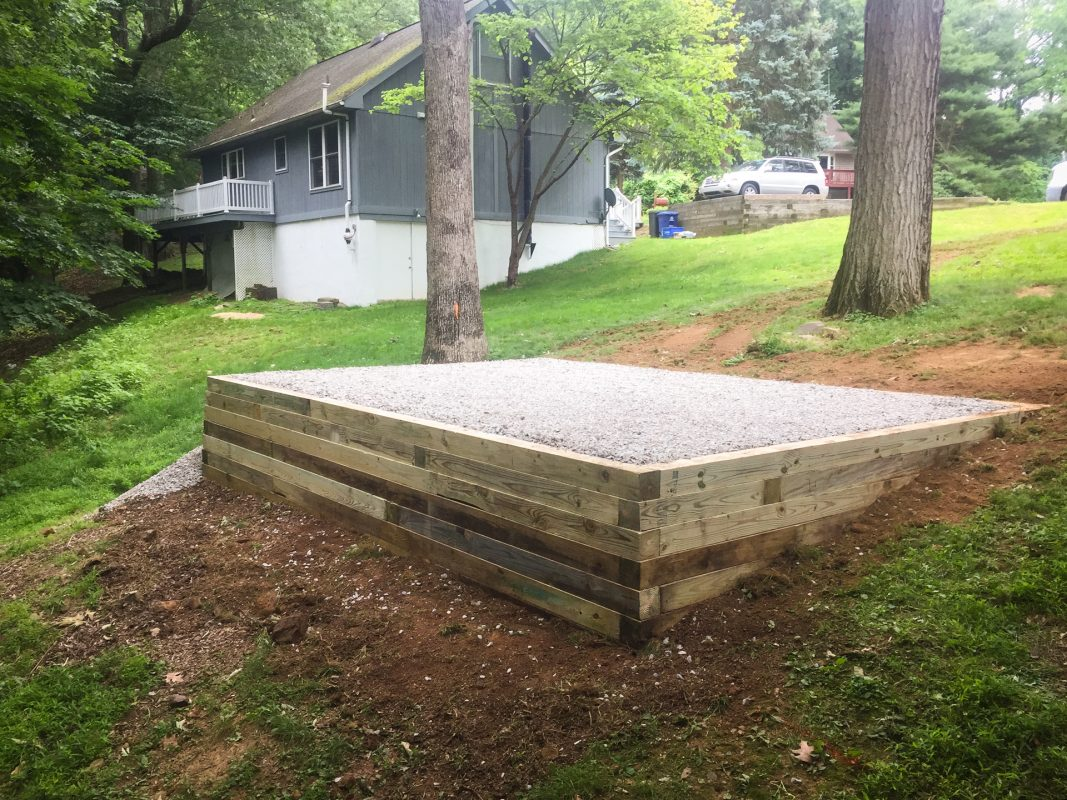 How to install a gravel shed foundation on a slope