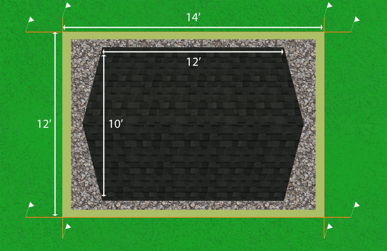 Diagram of how to install a gravel shed foundation