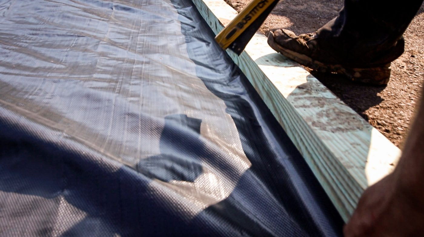 How to install stabilization fabric in a shed foundation