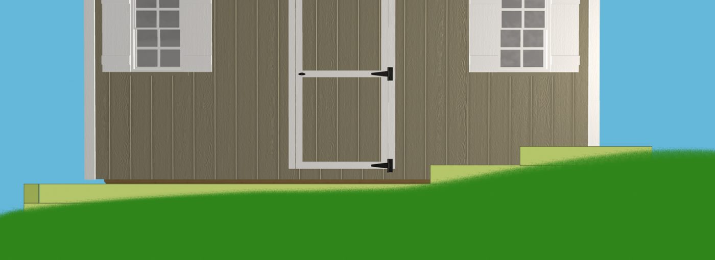 Diagram of how to install a shed foundation on a slope