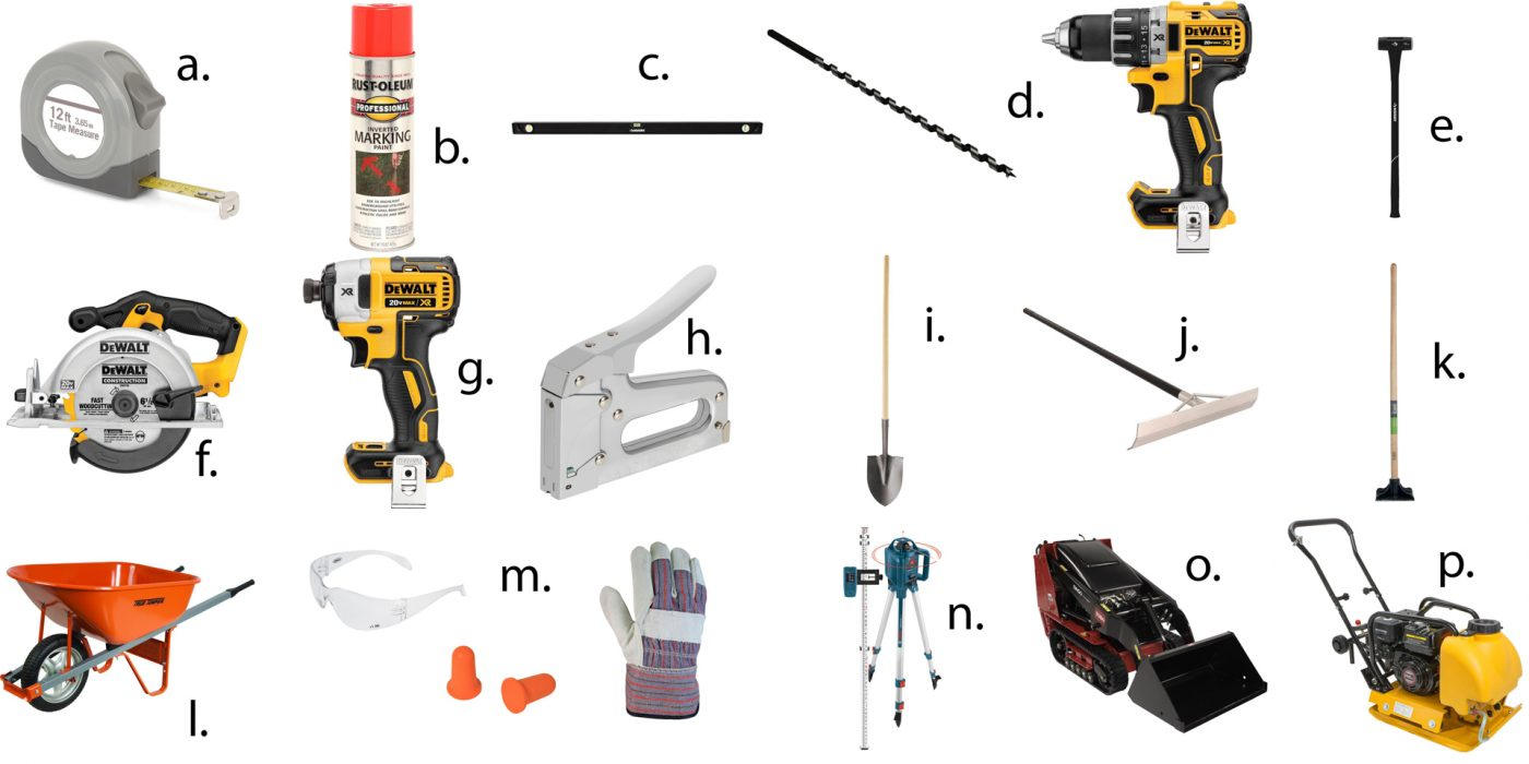 Tools needed for installing a gravel shed foundation.