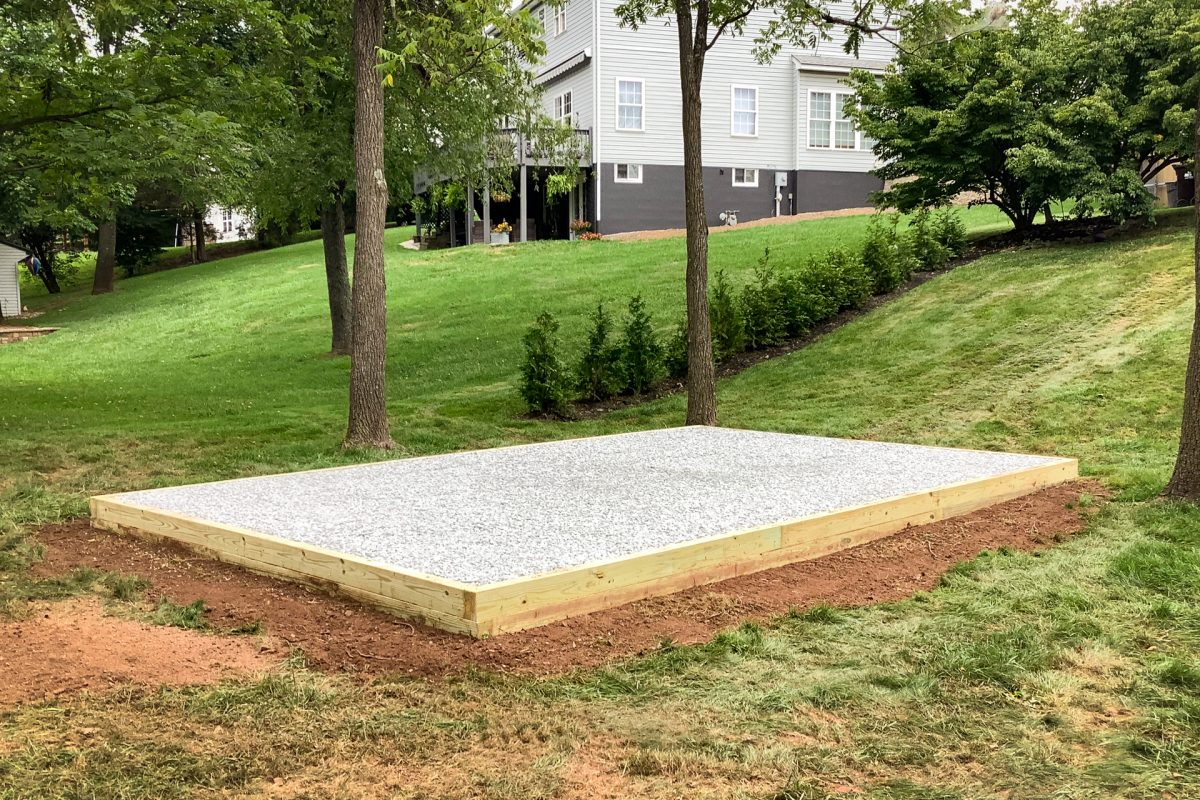 Crushed stone shed foundation installed by Site Preparations, LLC