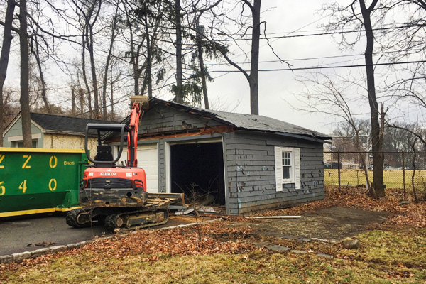Shed demolition services in action