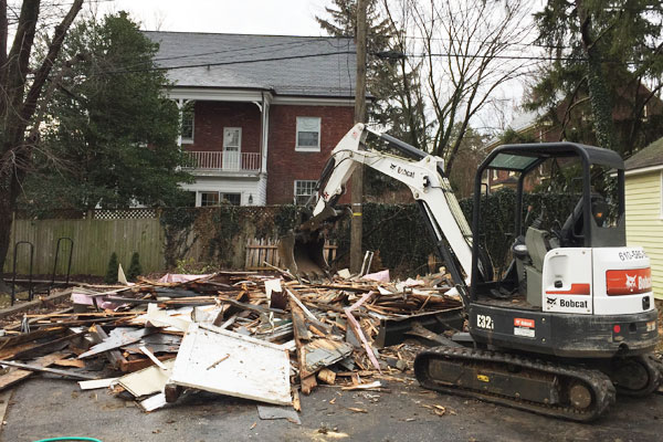 Shed demolition company in action