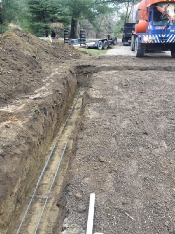 Pouring a footer for a concrete garage foundation