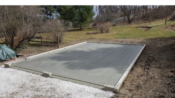 Concrete pad for a two-car garage
