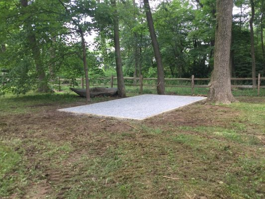 A gravel shed foundation in Wilmington, DE