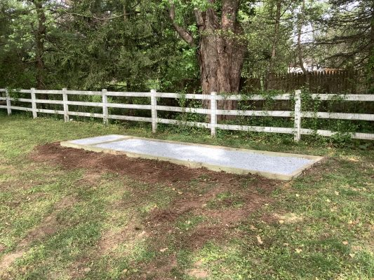 A shed foundation installed in Collegeville, PA