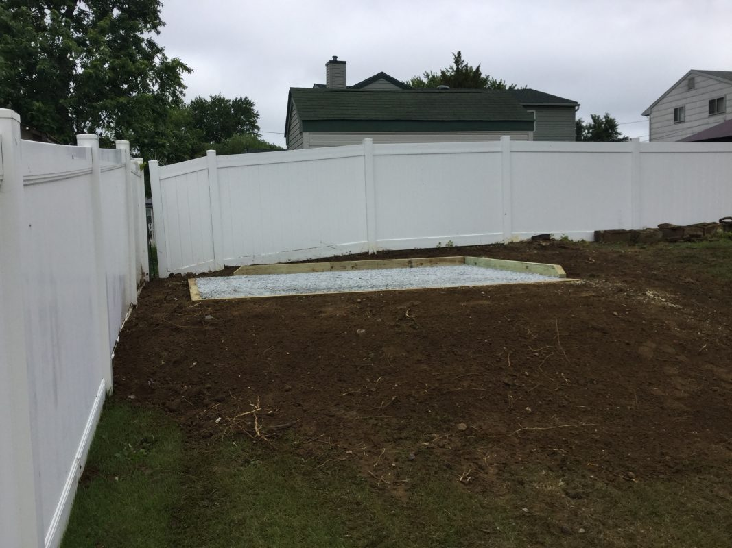 A gravel shed foundation in Woodbury Heights, NJ