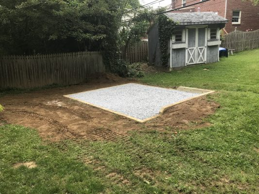 A gravel shed foundation in West Chester, PA