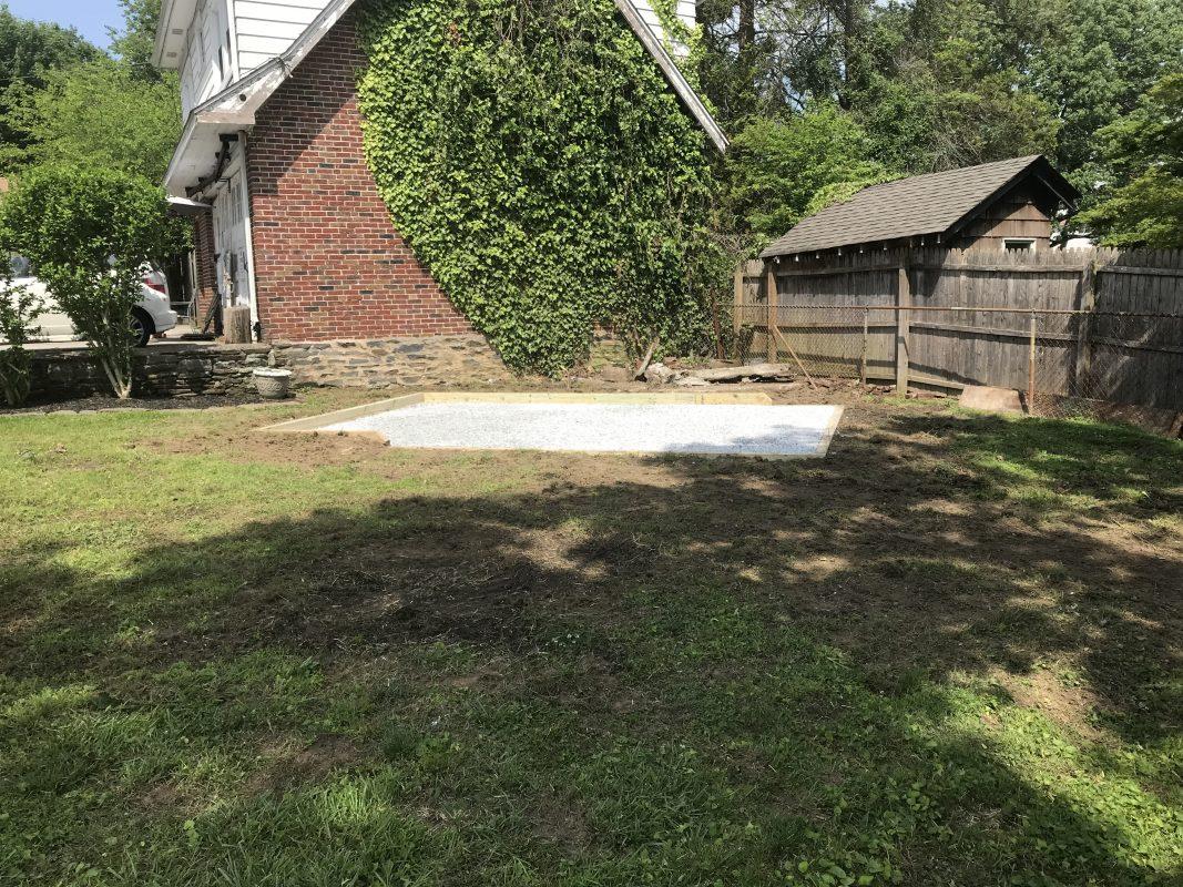 A gravel shed foundation in Bala Cynwyd, PA